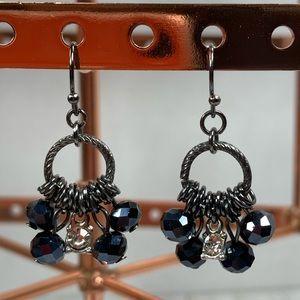 Blue Iridescent & Rhinestone Earrings Black Metal
